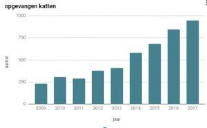 In 2017 ving Kat Zoekt Thuis 948 katten op.